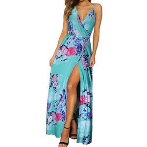 Deep Neck Floral Split Maxi Dress